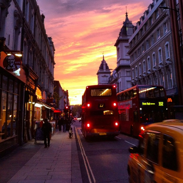 London streets sunset