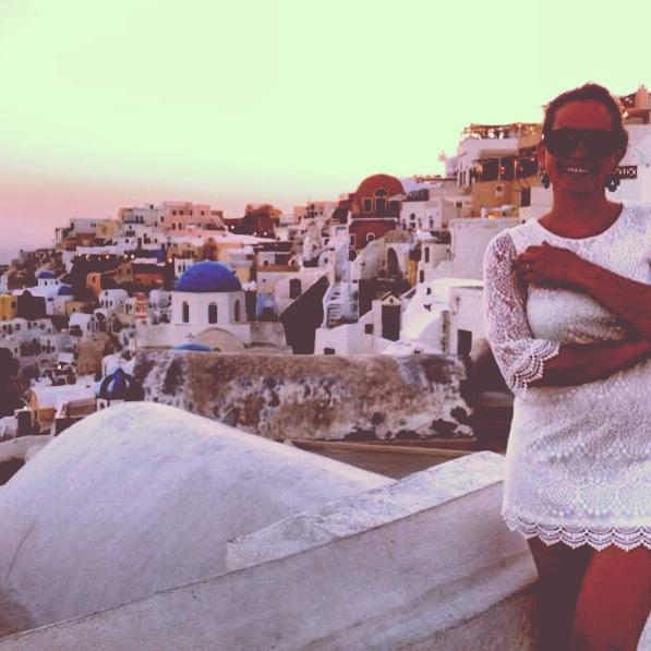 Sunset Santorini Greece rooftops