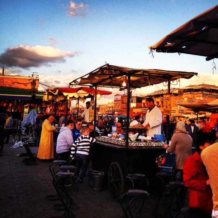 Food stalls at Jemaa el-Fnaa